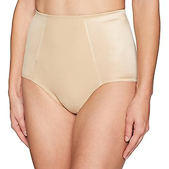 Merk - Arabella Women's Shine Microfiber Brief met Spacer, Sand, Large
