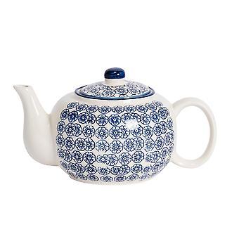 Nicola Tavaszi Kézzel nyomott teáskanna - japán stílusú porcelán teáskanna fedéllel - Navy - 820ml