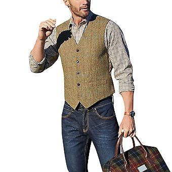 YANGFAN Men's Check Suit Vest V Collar Business Waistcoat
