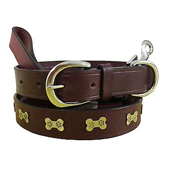 Bradley crompton genuine leather matching pair dog collar and lead set bcdc18maroon