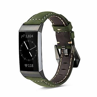 pour Fitbit Charge 4 & Charge 3 Bande Véritable Bracelet de remplacement en cuir de luxe[Vert]