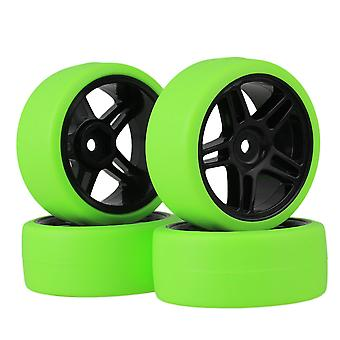 4pcs RC1:10 On Road Car Green Drift Tyres + Black Pentagram Wheel Rims