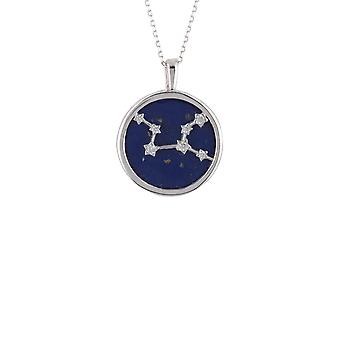 Zodiac Lapis Blue Gemstone Star Pendant Necklace Silver Virgo