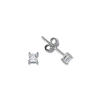 Jewelco London Rhodium Plated Sterling Silver Princess Cubic Zirconia Solitaire Stud Earrings 3mm
