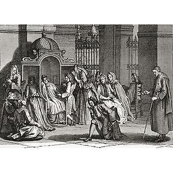 The Confession after a Dutch engraving of 1724 by Bernard Picart From Illustrierte Sittengeschichte vom Mittelalter bis zur Gegenwart by Eduard Fuchs published 1909 PosterPrint