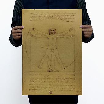 Leonardo Da Vinci Manuscripts Vitruvian Man Vintage Kraft Paper Movie Poster
