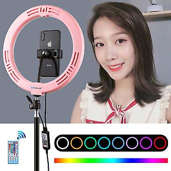PULUZ 10.2 inch 26cm Curved Surface USB RGBW Dimmable LED Ring Vlogging Photography Video Lights with Cold Shoe Tripod Ball Head & Remote Control & Ph