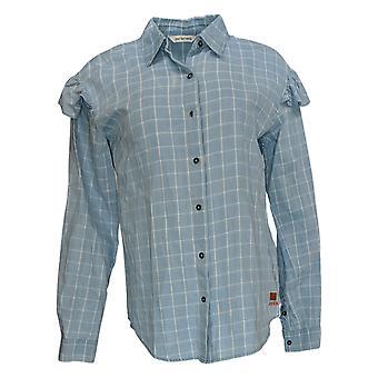 Peace Love World Women's Top Plaid Printed Shirt w/ Ruffles Blue A351856