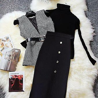 With Belt Women Autumn, Spring Clothing Set, Fashion Knitted Sweaters And Tweed