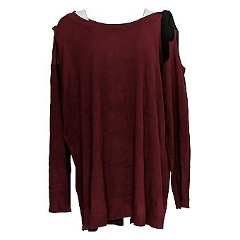 Attitudes by Renee Women's Plus Sweater Cold Shoulder Red A298648