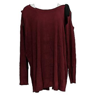 Attitudes par Renee Women's Plus Sweater Cold Shoulder Red A298648