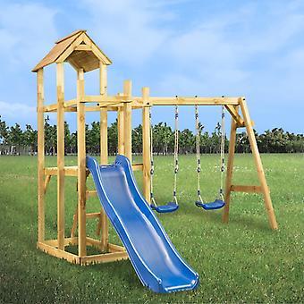 Spielturm mit Rutsche Schaukel Leiter 285 x 305 x 226,5 cm