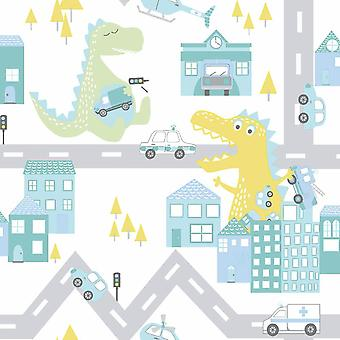 Dino Road Teal/Lime Wallpaper