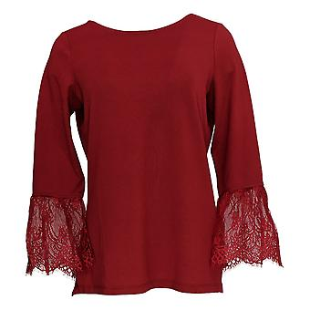 Belle By Kim Gravel Women's Top Lace Trim Bell Sleeve Red A310242