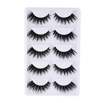 5 Pairs 5d Soft Fake Extension - Natural False Mink Eyelashes