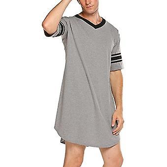 Men Cotton Nightshirt, Short Sleeve, V-neck, Loose Nightwear, Sleepwear