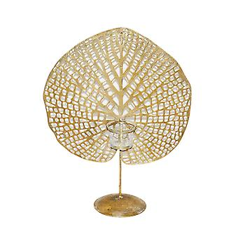 """Metal 16"""" Lily Pad Votive Candle Holder, Gold"""