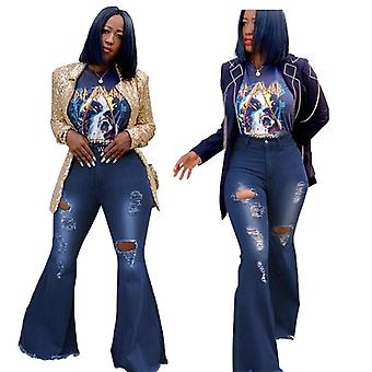 Efterår Flare Ripped Jeans Fashion High Waist Wide Leg Pants Casual Bell-bottoms