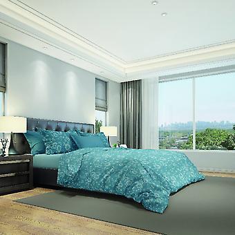 Parure Pfingstrosen Bettdecke Blau Farbe, Baumwolle weiß, L150xP200 cm, L50xP80 cm