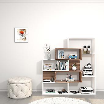 Biblioteket var hvid farve, Melamin spånplader træ, L140xP27xA150 cm