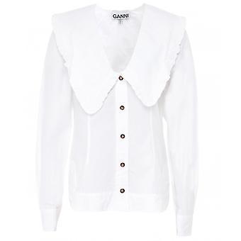 Ganni Cotton Poplin V-Neck Shirt
