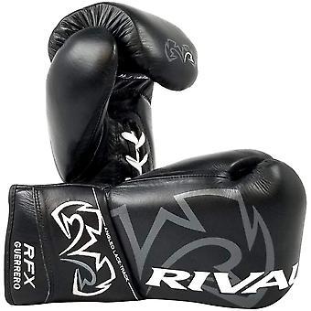 Rival de boxeo el RFX Guerrero HDE-F lucha Pro guantes de boxeo de cuero - negro con encaje