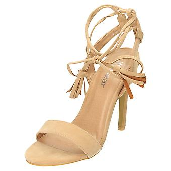 Koi Footwear High Heel Strappy Shoes Ankle Wrap Sandals Nude