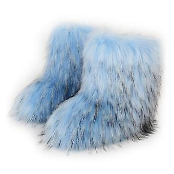 Women Fashion Warm Faux Raccoon Fur Boots For Winter Multicolors Snow Boots Ox Tendon Sole