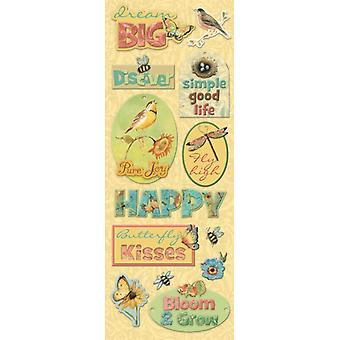 K & Co - Susan Winget Nature Words Adhesive Chipboard