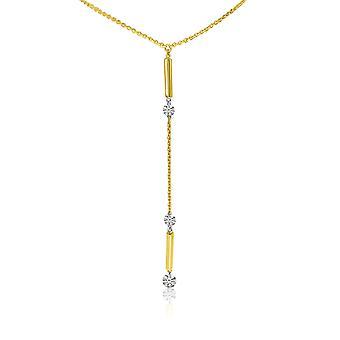 """שרשרת יהלומים LXR 14K צהוב זהב Lariat Y עם שרשרת 45 ס""""מ"""