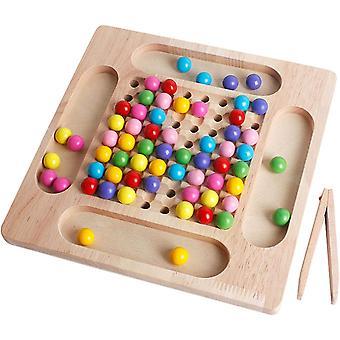 Holzspielzeug Brettspiele Clip Perlen Puzzle, Regenbogen Ball Eliminations Spiel, Montessori