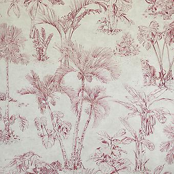 Leopard Jungle Wallpaper Red Beige