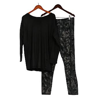 Carole Hochman Women's Petite Feather Soft Jersey Lounge Set Black A381871