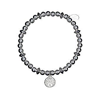 Bracelet d'empilement de disque Tree of Life - 17.5cm - Argent - Cadeaux de bijoux pour femmes de Lu Bella
