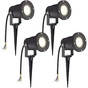4 Stück 3W LED Gartenleuchte Rasen Licht mit Erdspieß, Matt-Schwarz, Warmweiß, wasserdicht IP65 für