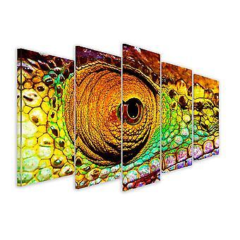 Tableau 5 parties Tableau photo yeux reptiliens - 150x80 cm