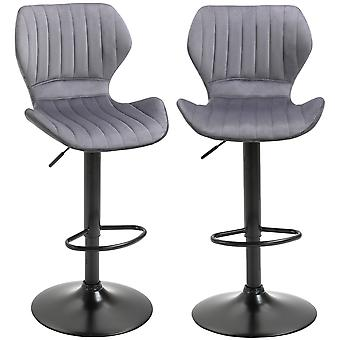 HOMCOM Bar Stool Set of 2 Velvet-Touch Fabric Adjustable Height Swivel Counter Chairs with Footrest, Grey