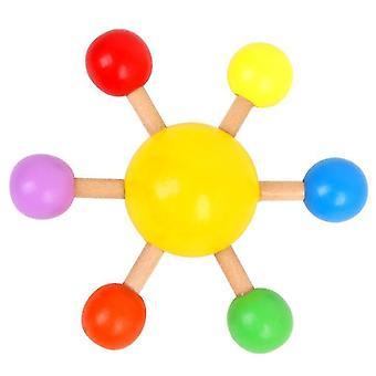 Gelbe Fingerspitze oben bunte Spinning Top Holz Spaß Freizeit Dekompression Spielzeug x5105