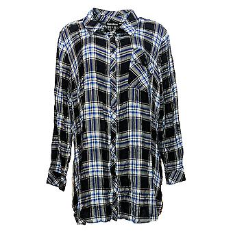 Tolani Collection Women's Top Regular Plaid Tunic w/Print Back Black A383438