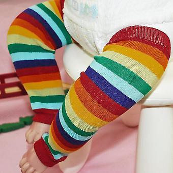 Dívky Děti Děti Duha Barevné Pruhované Stehno Vysoké Teplé Nohy Ponožky