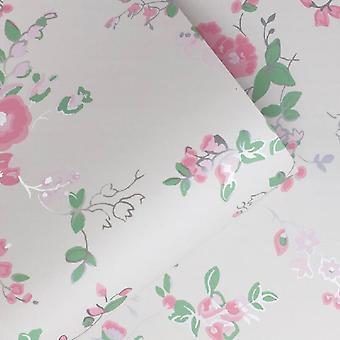 Cath Kidston Crema Rosa Floral Wallpaper