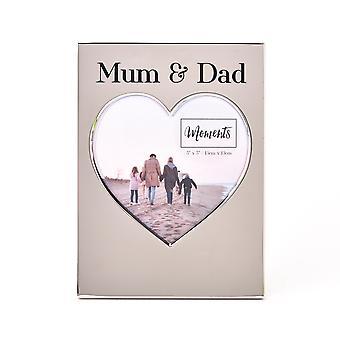 "Moments Silver Heart Frame 5"" x 5"" - Mama & Papa"