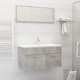 vidaXL arredo bagno set truciolato grigio cemento