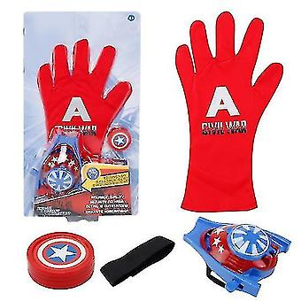 Kids Superhero Magic Gloves With Wrist Ejection Launcher(Red A)