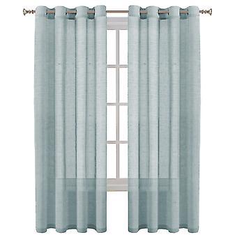 Linne ren gardiner fönsterbehandling öljett topppaneler säljs ett par, kricka