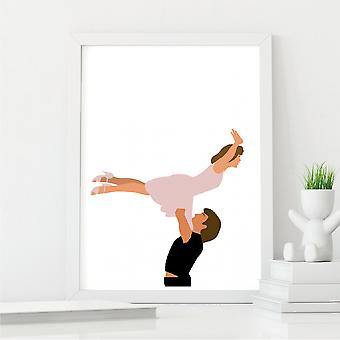 Dirty Dancing Lift Inspired Wall Art   Movie Moment Print   A4 with White Frame