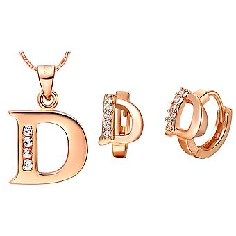 (D)  Alphabet Rhinestone Womens 26 Initial Letter Huggie Earrings Necklace Jewelry Set Rose Gold
