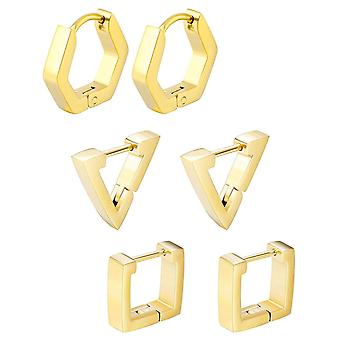 (gold)  3 pairs Women Stainless Steel Triangle/Square/Hexagon Geometric Piercing Stud Earring Set