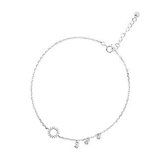 2PCS Silver plating Round Circle Tassel Anklet Bracelet Geometric Anklet For Women Summer Beach