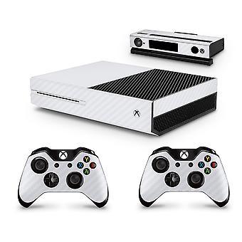GNG Xbox One カーボンホワイトルックコンソール スキンデカールステッカー + Xbox One &Kinect と互換性のある 2 つのコントローラースキン